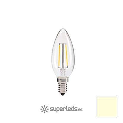 Imagen de Bombilla Filamento LED Vela E14 2W - Blanco Cálido